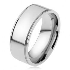 Oceľový prsteň, lesklý rovný povrch, znížené okraje