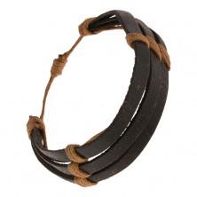 Čierny kožený náramok - tri prúžky previazané hnedým motúzikom