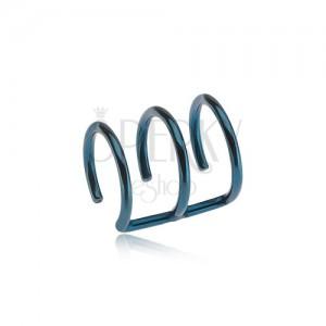Oceľový fake piercing do ucha modrej farby - tri krúžky