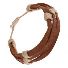 Náramok - tri gaštanovohnedé pásiky kože previazané béžovou šnúrkou