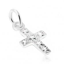 Strieborný 925 prívesok, gravírovaný kríž s hviezdami na povrchu