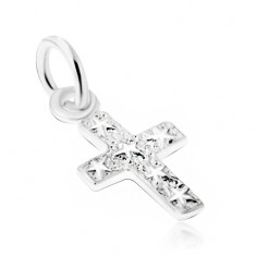 a6d58e48c Šperky eshop - Strieborný 925 prívesok, gravírovaný kríž s hviezdami na  povrchu V07.26