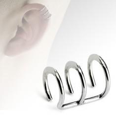 Šperky eshop - Falošný piercing do ucha z ocele, tri lesklé krúžky SP02.12