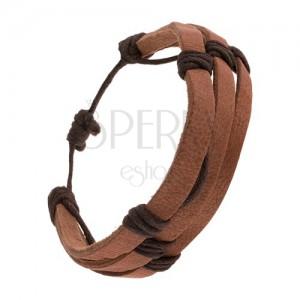 Kávovohnedý kožený náramok - tri prúžky previazané tmavohnedou šnúrkou