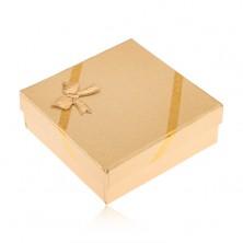 Darčeková krabička zlatej farby na šperky, vzhľad tkaniny, mašľa