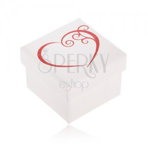 Darčeková krabička na šperk bielej farby, červený obrys srdca