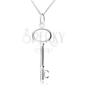 Strieborný 925 náhrdelník, retiazka a prívesok kľúča