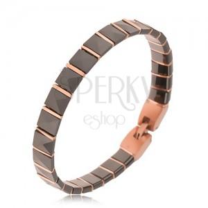 Čierny keramický náramok, pyramídové články, prúžky ružovozlatej farby