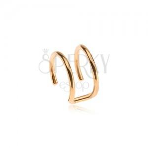 Falošný piercing do ucha z ocele, dvojitý krúžok zlatej farby
