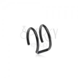 Oceľový fake piercing do ucha čiernej farby - dva krúžky