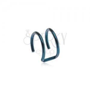 Fake piercing do ucha z ocele - dva krúžky modrej farby