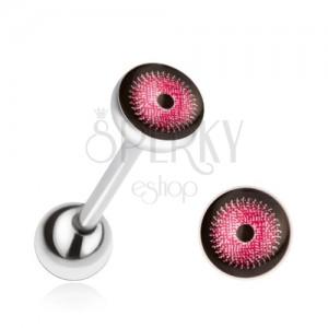 Oceľový piercing do jazyka, ružovo-čierne oko