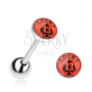 Piercing do jazyka z ocele, červeno-čierny obrázok Lucky 13