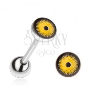 Oceľový piercing do jazyka, žlto-čierne oko
