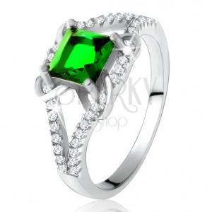 Prsteň zo striebra 925, štvorcový zelený zirkón, rozdvojené ramená, X