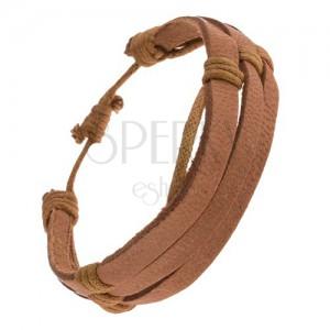 Náramok - orieškové kožené pásiky, khaki šnúrky
