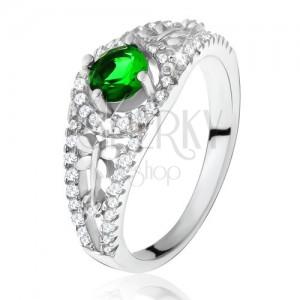 Číry zirkónový prsteň so zeleným kamienkom, vážky, striebro 925