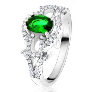 Prsteň s oválnym zeleným kameňom, číry kruh, kvapky, zo striebra 925