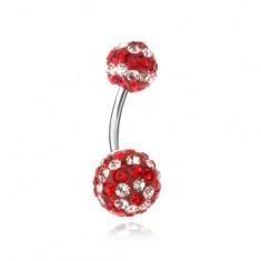 Oceľový piercing do bruška, červeno-číre zirkónové guličky