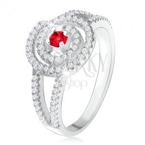 Strieborný 925 prsteň, číra zirkónová špirála, rubínový kamienok