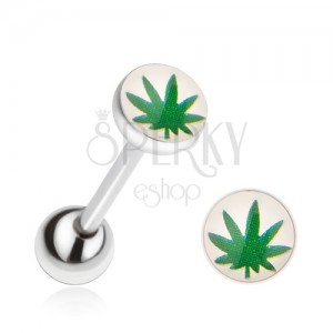 Oceľový piercing do jazyka, zelený list marihuany