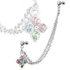 Šperky eshop - Piercing do ucha z ocele, farebný zirkónový kvet, dvojitá retiazka Q4.2