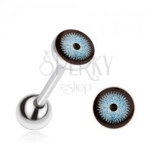 Oceľový piercing do jazyka, modro-čierne oko