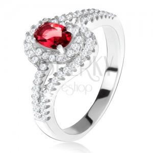Strieborný 925 prsteň, červený kameň s lemom, zvlnené zirkónové ramená