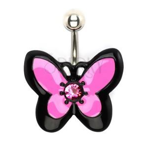 Piercing do bruška z ocele, ružovo-čierny motýľ so zirkónom