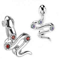 Oceľový piercing do pupka - had s tromi farebnými zirkónmi