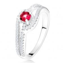 Prsteň so zvlnenými zirkónovými ramenami, červený kameň, striebro 925