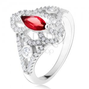 Strieborný 925 prsteň, zrniečkový červený kameň, vyrezávané zirkónové ramená