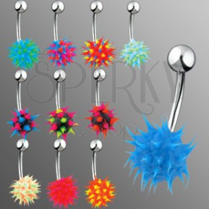Piercing do bruška - farebný ježko zo silikónu