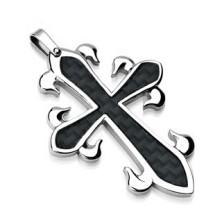 Prívesok z chirurgickej ocele - kríž s čiernym prepleteným vzorom
