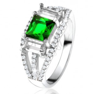 Prsteň zo striebra 925, štvorcový zelený zirkón, číre obdĺžnikové kamienky