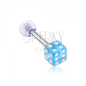 Oceľový piercing do tragusu, akrylová hracia kocka, priehľadná modrá