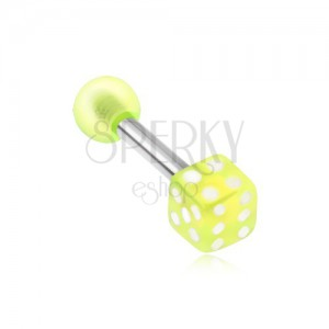 Oceľový piercing do tragusu - akrylová neónovozelená hracia kocka