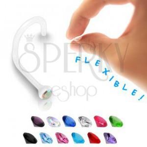 Piercing do nosa - transparentný BioFlex s farebným zirkónom