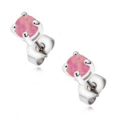 Oceľové náušnice - puzetky s okrúhlym ružovým opálom
