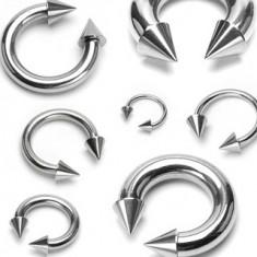 Piercing z chirurgickej ocele, podkova s hrotmi