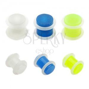 Plug do ucha z akrylu - priehľadný s gumičkami