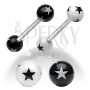 Oceľový piercing do jazyka, čierno-biele akrylové guličky s hviezdičkami