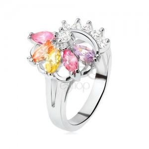 Prsteň striebornej farby, vejár z farebných kamienkov, číre zirkóny