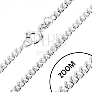 Retiazka zo zatočených oválnych očiek, striebro 925, 1,7 mm
