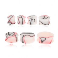 Akrylový plug do ucha s červeno-čiernym mramorovým vzorom