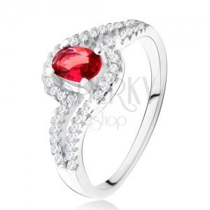 Prsteň s oválnym červeným kameňom, zvlnené zirkónové ramená, striebro 925