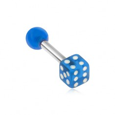 Oceľový piercing do tragusu, akrylová priehľadná modrá hracia kocka