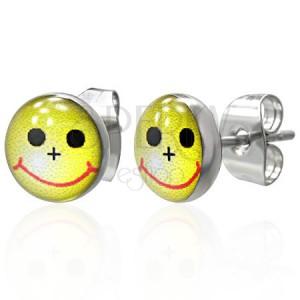 Malé okrúhle náušnice - žltý smajlík