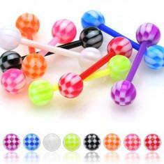 Akrylový piercing do jazyka, farebné guličky s motívom šachovnice
