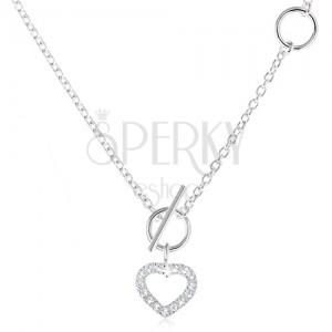 Strieborný 925 náhrdelník, zirkónový obrys súmerného srdca a retiazka